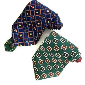 Lot of Two Tommy Hilfiger 100% Silk Wide Neck Ties